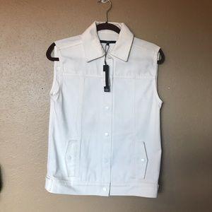 NWT Tibi white denim vest